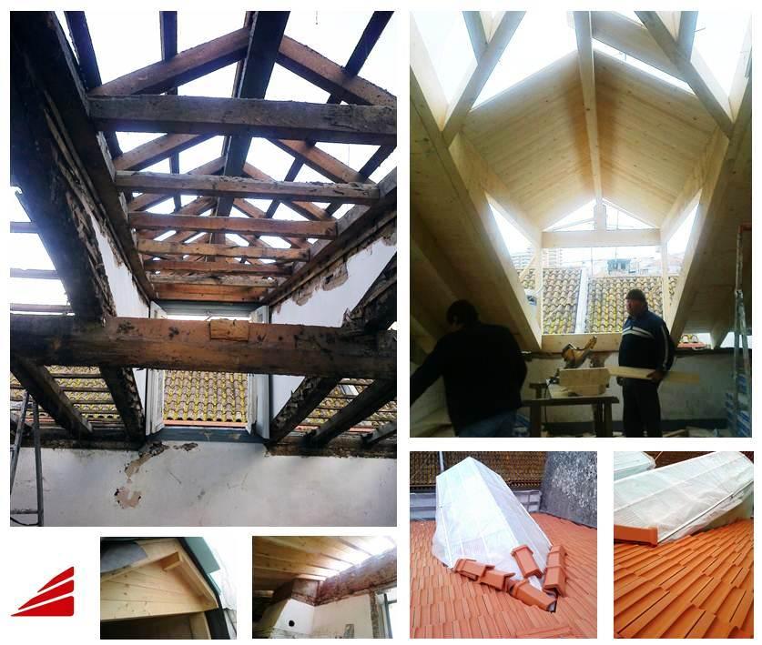Substituição de cobertura com estrutura em madeira